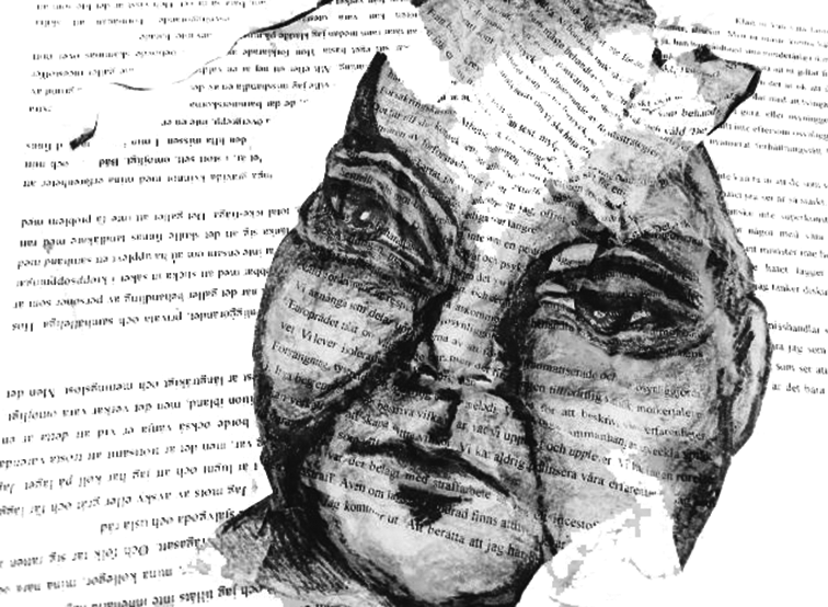 En tecknad bild av ett ansikte som omgärdas av text som är vänd upp och ned.